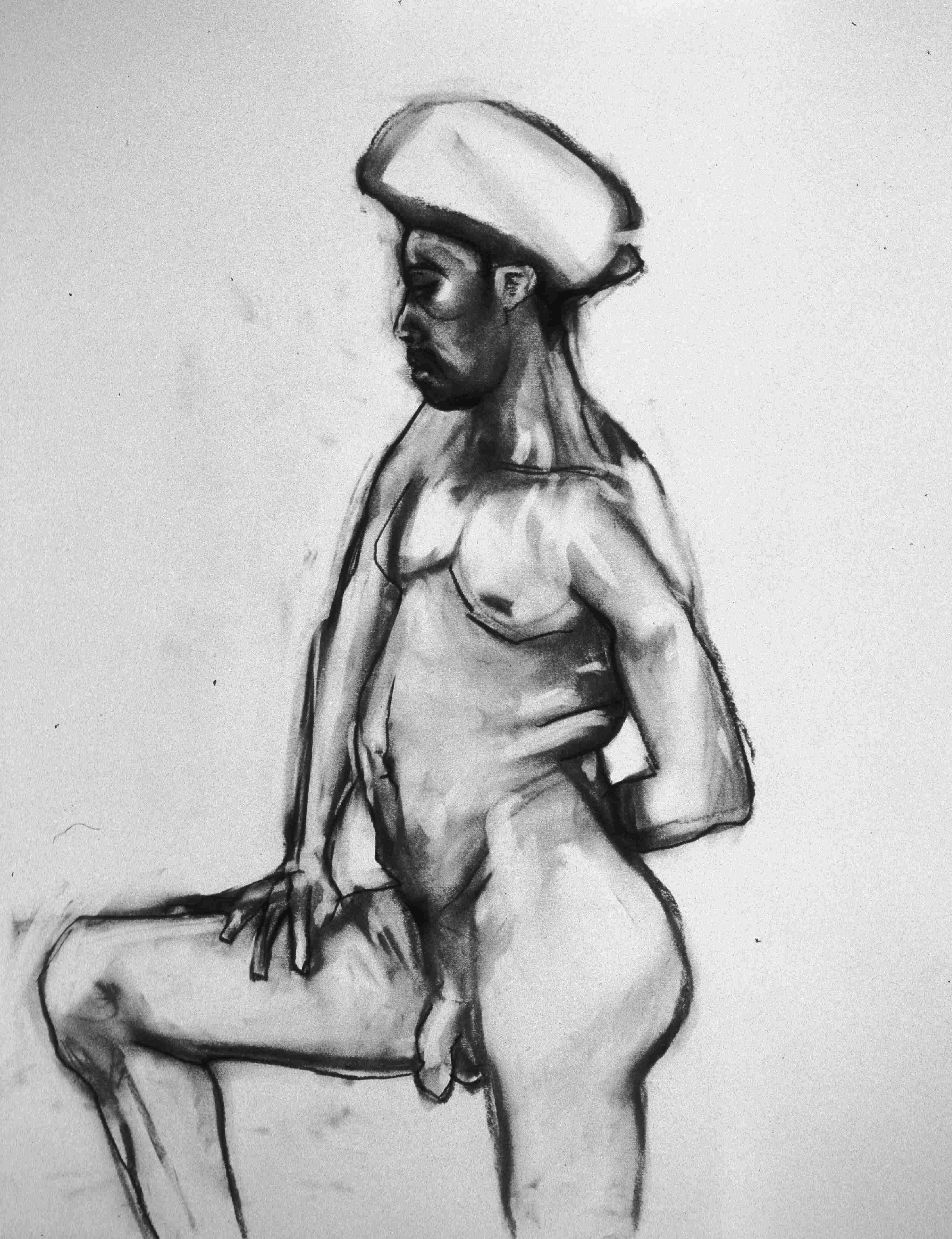 Mann mit Handtuch 48x61